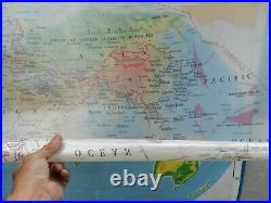 Vintage, Nystrom & Company WORLD Wall Map Classroom #PR98-1, POLITICAL OVERLAY