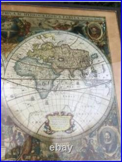 Vintage Old World Map Coffee Table Campaign Style