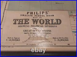Vintage Philips School Room Map Of The World beautiful