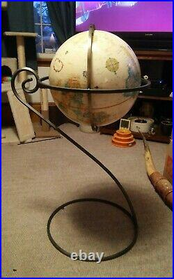 Vintage Replogle Globe 16 World Classic Series With Metal Stand Tall