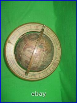 Vintage Rotating Globe With Wooden Base Old World Globe Intricate Details