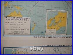 Vintage World Power and Growth of Industry Pull Down Roller School Maps