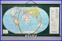 Vintage antique school wall map The World in 1500 1648. Roll up 79 x 43 inch