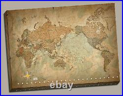 Wall Art Canvas Picture Print Antique Old Vintage World Map 3.2