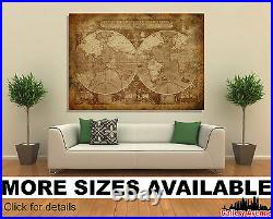 Wall Art Canvas Picture Print Antique Old Vintage World Map M04 3.2