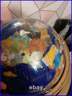 World Globe With Semi Precious Stone Inlay With Brass Stand Compass cartography