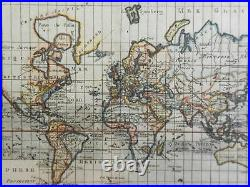World Map showing Alaska as an island 1780 Bonne map with lovely hand color